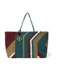 Tory Burch - Britten Color-block Shearling Tote Forest Green - Lyst