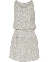 Joie - Woman Lawska Shirred Printed Washed-silk Mini Dress White Size S - Lyst