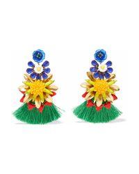 Elizabeth Cole - Multicolor 24-karat Gold-plated, Stone, Acrylic And Tassel Earrings - Lyst