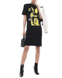 McQ Alexander McQueen Flocked Printed Cotton-jersey Dress Black