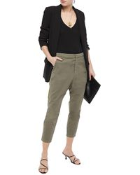 Nili Lotan Cropped Stretch-cotton Twill Tapered Pants Army Green