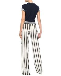 RED Valentino Blue Woman Striped Cotton-blend Top Navy