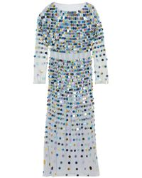 AlexaChung - Blue Sequin-embellished Linen-point D'esprit Midi Dress - Lyst