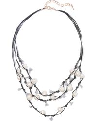 Kenneth Jay Lane - Black Faux Pearl, Tassel And Cord Necklace - Lyst