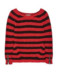 Maje | Black Striped Cotton And Linen-blend Sweater | Lyst