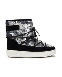 Moon Boot Metallic Pulse Sequin-embellished Woven And Suede Snow Boots Silver