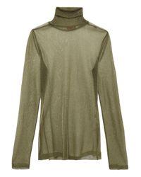 Missoni Metallic Knitted Turtleneck Top Sage Green
