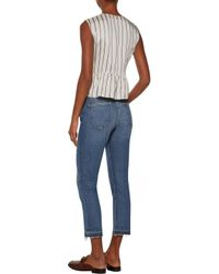 Current/Elliott Blue High-rise Frayed Cropped Straight-leg Jeans Mid Denim