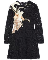 Valentino Appliquéd Silk-blend Corded Lace Mini Dress Black