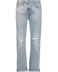 R13 Blue Bowie Distressed Mid-rise Straight-leg Jeans