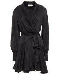 Zimmermann Black Washed-silk Mini Warp Dress
