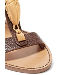 Valentino - Brown Embellished Textured-leather Sandals - Lyst