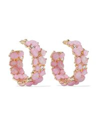Kenneth Jay Lane - Pink Gold-tone, Stone And Crystal Hoop Earrings - Lyst