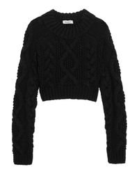 DKNY Black Cropped Cutout Cable-knit Merino Wool Sweater