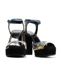Lanvin Multicolor Suede, Matte And Mirrored-leather Platform Sandals Black