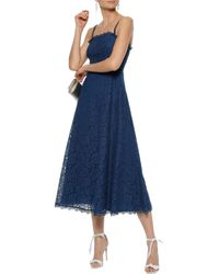 Temperley London - Woman Coco Ruffled Chantilly Lace Midi Dress Cobalt Blue Size 8 - Lyst
