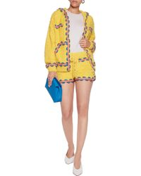Moschino Yellow Embroidered Cotton-blend Shorts