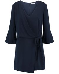 Halston Heritage - Blue Wrap-effect Crepe Mini Dress - Lyst