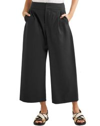 Marni - Cropped Pleated Wool-blend Twill Wide-leg Pants Dark Gray - Lyst