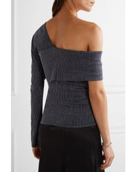 Beaufille - Blue Lota One-shoulder Striped Stretch Cotton And Linen-blend Top - Lyst
