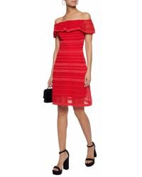 M Missoni Woman Off-the-shoulder Crocheted Cotton-blend Dress Red