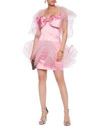 Moschino Pink Strapless Tulle-paneled Satin Mini Dress