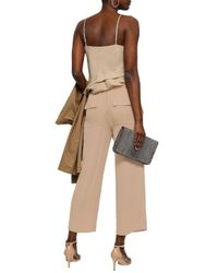 Theory Natural Cropped Silk-crepe Wide-leg Pants Beige