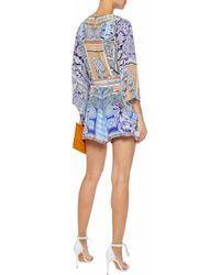 Camilla - Blue Wrap-effect Crystal-embellished Printed Silk Playsuit - Lyst