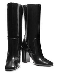 Michael Kors - Black Agatha Glossed-leather Boots - Lyst