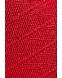 Hervé Léger Red Bandage Halterneck Gown