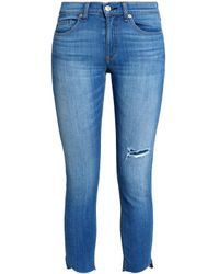 Rag & Bone Blue Distressed Low-rise Skinny Jeans