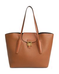 Michael Kors Brown Bancroft Smooth And Pebbled-leather Tote Camel