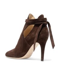 Jimmy Choo Brown Marina Cutout Suede Ankle Boots