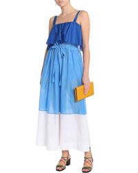 Diane von Furstenberg - Fluted Color-block Cotton And Silk-blend Coverup Royal Blue - Lyst