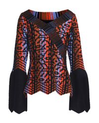 Peter Pilotto - Woman Wool-blend Jacquard Sweater Midnight Blue - Lyst