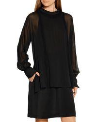 3.1 Phillip Lim Black Layered Silk-chiffon And Crepe De Chine Mini Dress