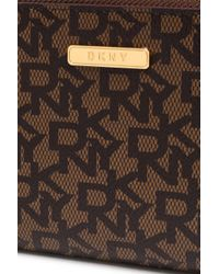 DKNY - Woman Printed Faux Textured-leather Wallet Brown - Lyst