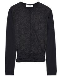 Valentino Black Lace-paneled Wool Cardigan
