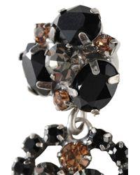 DANNIJO Oxidized Silver-tone Crystal Earrings Black