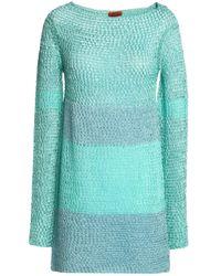 Missoni Blue Woman Metallic Crochet-knit Mini Dress Mint