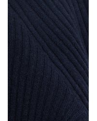 Autumn Cashmere Woman Tie-back Ribbed Merino Wool-blend Sweater Midnight Blue