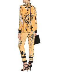 Victoria, Victoria Beckham Draped Printed Silk-crepe Shirt Yellow