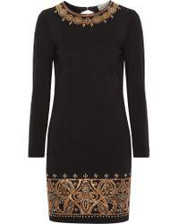 Emilio Pucci - Black Embellished Stretch-jersey Mini Dress - Lyst