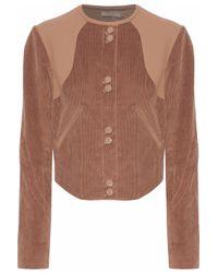 Nina Ricci Leather-paneled Cotton-blend Corduroy Jacket Light Brown