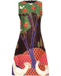 RED Valentino Metallic Printed Leather Dress Multicolor