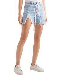 Off-White c/o Virgil Abloh Blue Belted Distressed Denim Shorts Light Denim