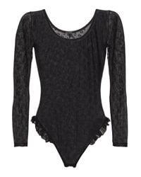 Le Petit Trou Black Laurine Ruffle-trimmed Tulle Bodysuit