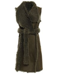 Yves Salomon Belted Shearling-paneled Suede Vest Army Green