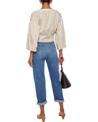 10 Crosby Derek Lam Multicolor Cropped Striped Cotton-poplin Wrap Top Marigold