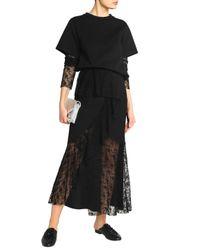 Goen.J - Black Crepe De Chine-paneled Embroidered Tulle Maxi Skirt - Lyst